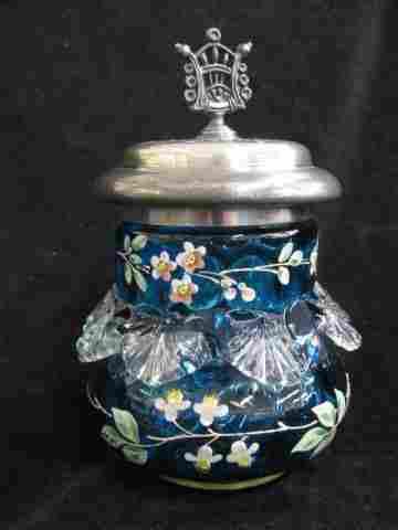 197: Victorian Blue Enameled Art Glass Pickle
