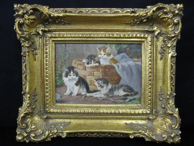 502: Miniature Painting of Kittens,