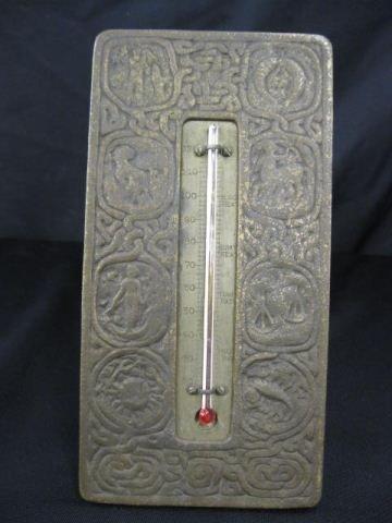 506: Tiffany Zodiac Bronze Desk Thermometer,