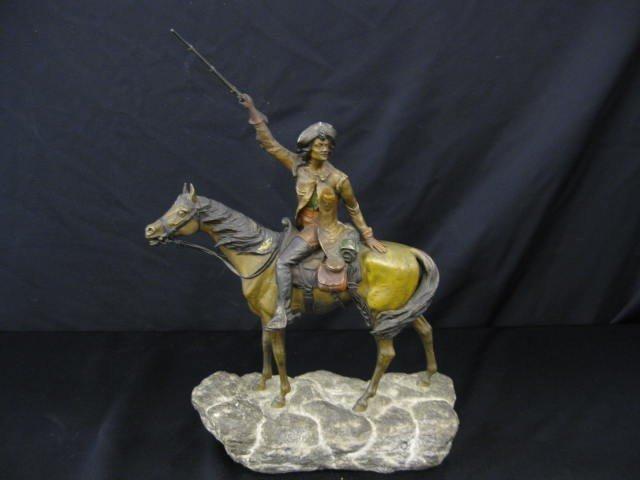 509: Franz Xavier Bergman Austria Bronze Horse & Rider,