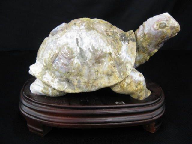 517: Carved Ocean Jasper Turtle Figurine,