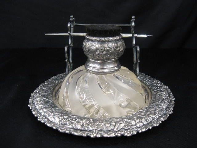 521A: Victorian Silverplate Inkstand,
