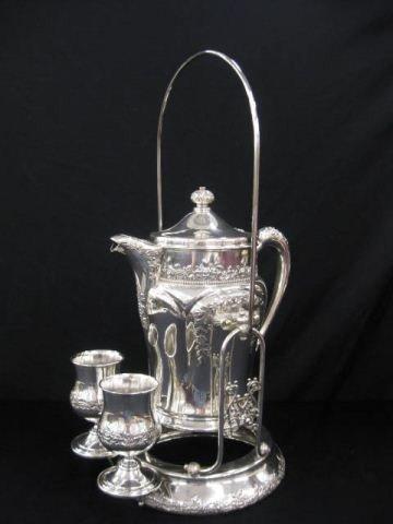 522: Victorian Silverplate Tilting Water Kettle