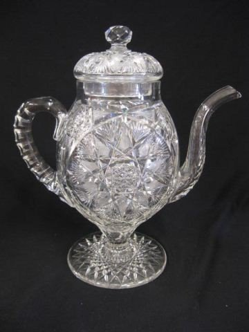 669: Rare Cut Glass Coffeepot, brilliant period