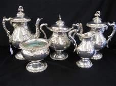 676: 5 pc. Victorian Silverplate Tea & Coffee Service,