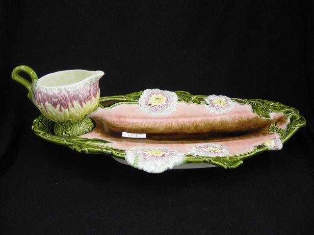 3: European Majolica Pottery Asparagus Tray,