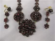 10A Victorian Bohemian Garnet Necklace  Earrings