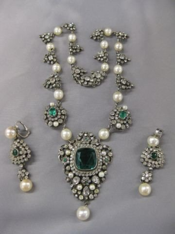 10B: Antique French Paste & Sterling Necklace &