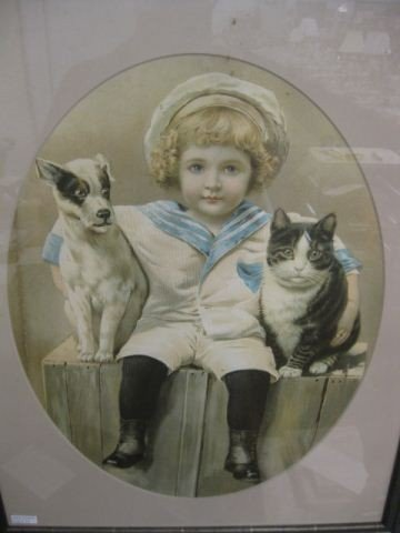 12: Victorian Lithograph of Child with Dog & Cat,