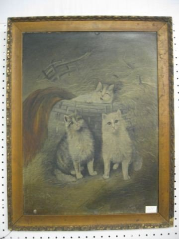 13: 19th Century Oil on Three Kittens & Basket,