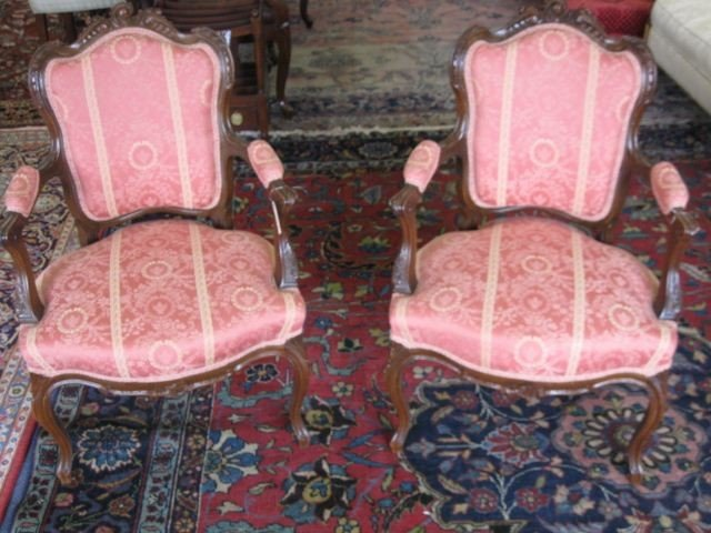 15: Pair of French Victorian Arm Chairs,