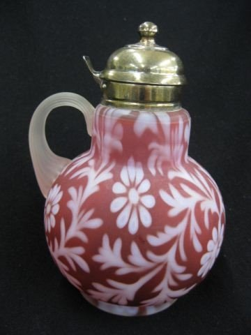 16: Victorian Cranberry Satin Art Glass Syrup Pitcher,