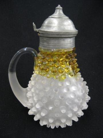17: Victorian Art Glass Syrup Pitcher,