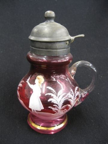 19: Victorian Cranberry Enameled Art Glass Syrup