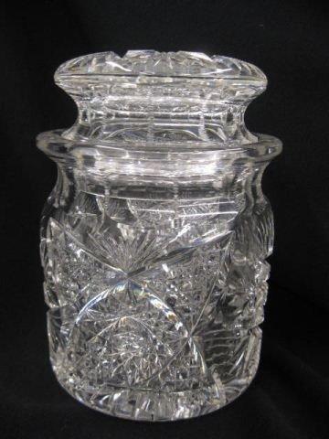 501: Brilliant Period Cut Glass Humidor, feathered star