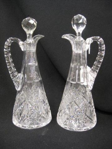 506: Pair of Brilliant Period Cut Glass Cruets, fancy