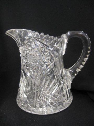 509: Brilliant Period Cut Glass Cider Pitcher, starburs