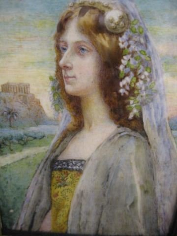 """512: Miniature Painting of a Maiden, 4"""" x 5"""" image area"""