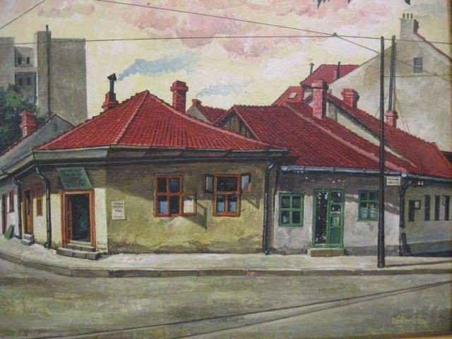513: Velkovich, Oil, Cityscape, signed & dated 1966, on