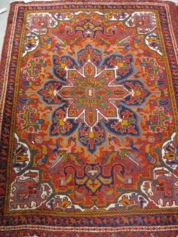 514: Heriz Persian Handmade Rug, elaborate central flor
