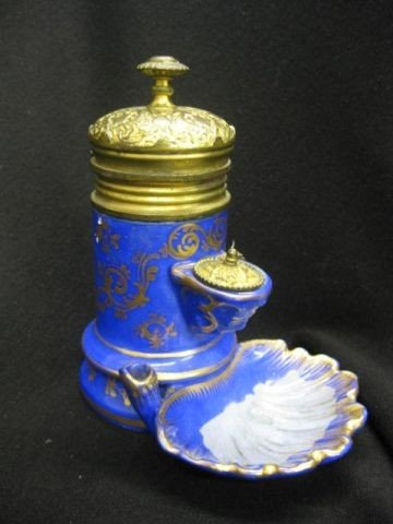 519: 19th Century French Porcelain Inkwell, ormoulu mou