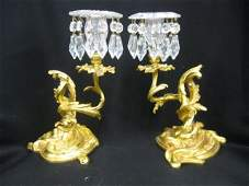 644 Pair of French Victorian Bronze  Cut Glass Candle
