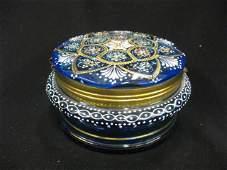 657 Victorian Enameled Art Glass Dresser Box floral o
