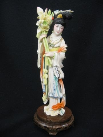 860A: Chinese Carved Ivory Figurine of a Lady, fancy po