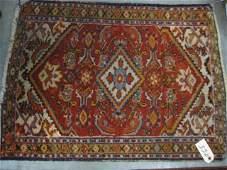955: Hamadan Persian Handmade Mat, stylized floral, red