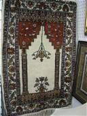 1073 Hamadan Persian Handmade Prayer Rug floral ivor