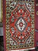 1106: Hamadan Persian Handmade Mat, floral on red field