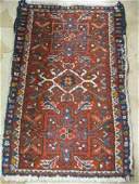 1315C: Hamadan Persian Handmade Mat, floral on red fiel