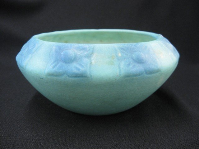 5: Van Briggle Art Pottery Bowl, stylized blue floral o