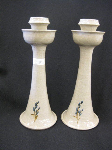 23: Pair of Jugtown Pottery Candlesticks, tulip form,