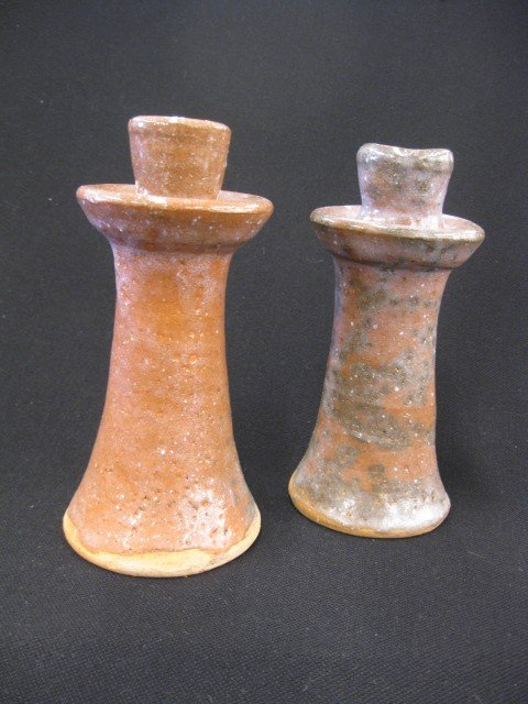 24: Pair of Burlon Craig N.C. Pottery Candlesticks,