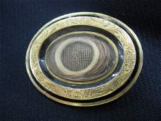 30B: Victorian Gold Mourning Brooch, hair inside, oval,