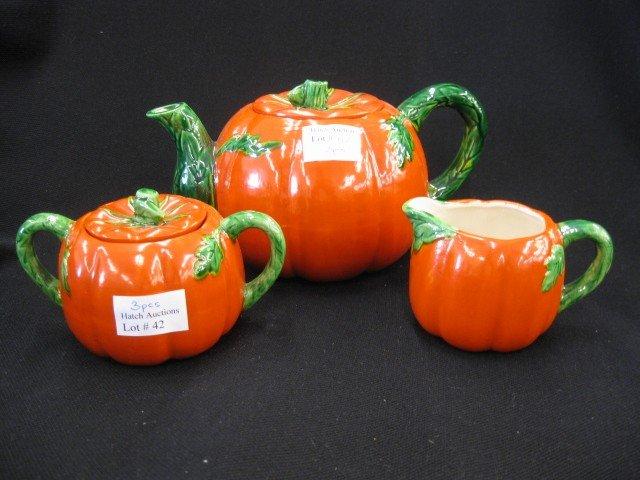42: 3 pc. Occupied Japan Tea Set, figural tomato design