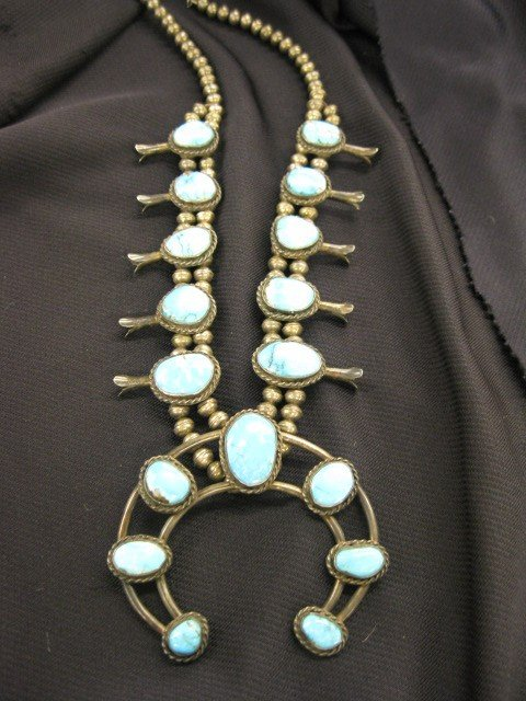 290A: Indian Squash Blossom Turquoise & Sterling