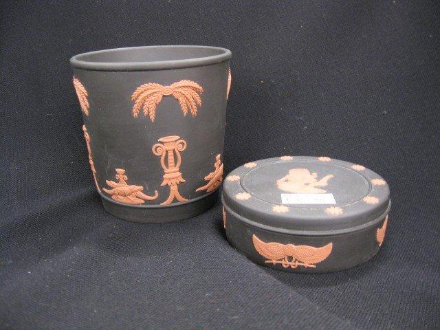 "501: 2 pcs. Wedgwood Jasperware, ""Egyptian"" powder box"