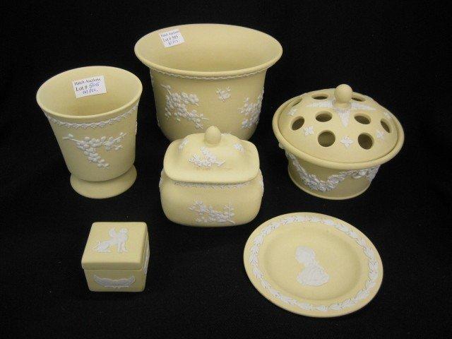 505: 6 pcs. Wedgwood Jasperware, yellow, various scenes