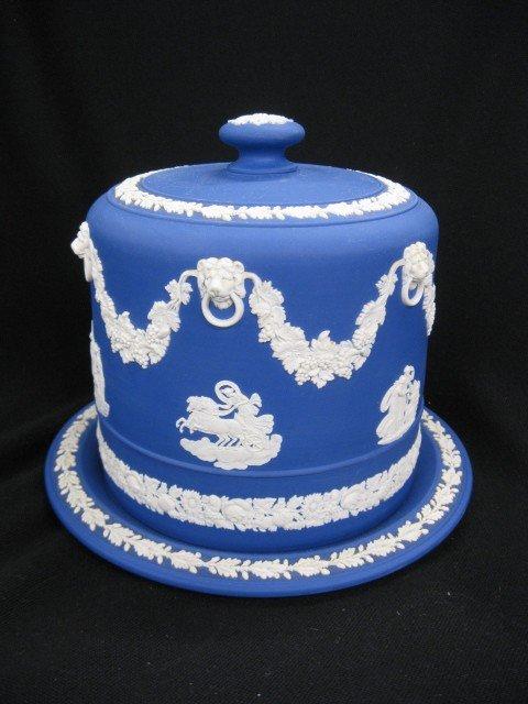 507: Wedgwood Jasperware Cheese Keeper, royal blue, cla