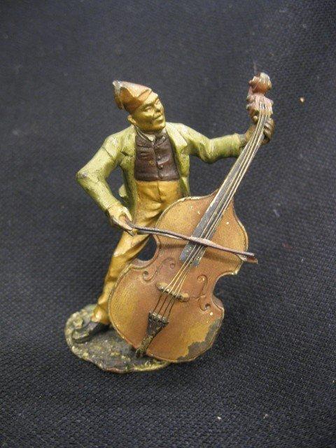509: Bergmann Austrian Bronze Figurine, man with cello,