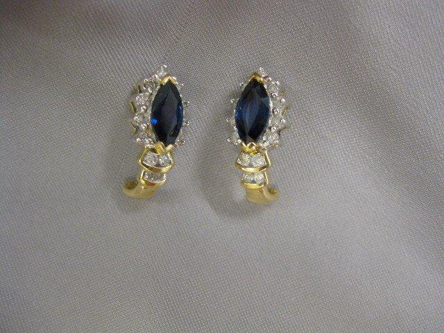 510B: Sapphire & Diamond Earrings, marquise deep blue