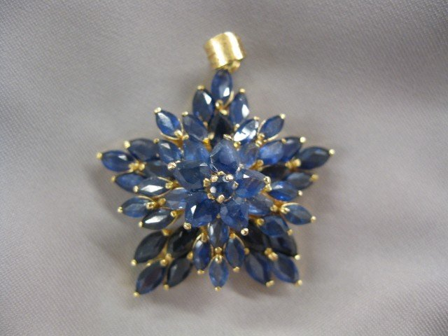 511: Sapphire Pendant, marquise shape rich blue gems in