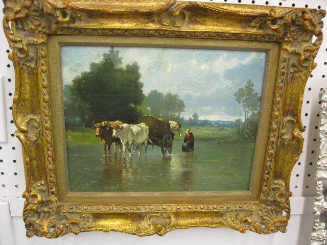 512: 19th Century Oil on Canvas, farmers filling a wate