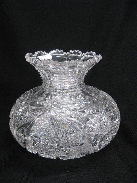 515: Cut Glass Flower Center Vase, squat form, step-cut