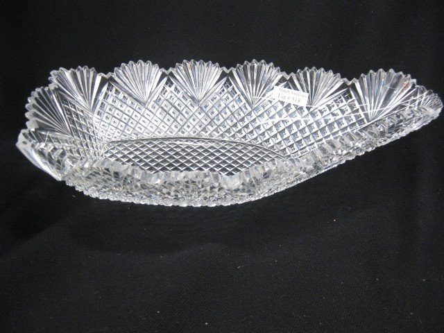 518: Cut Glass Banana Bowl, boat shape, strawberry, dia