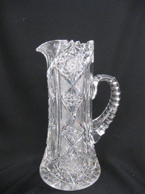 "519: Cut Glass Pitcher, beautiful overall cutwork, 11"""