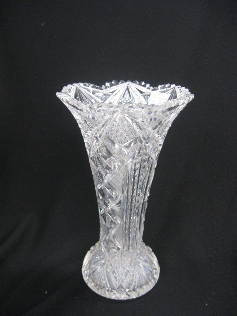 "521: Cut Glass Vase, elaborate overall cutwork, 10"" tal"
