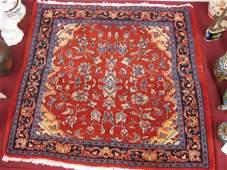 822: Hamadan Persian Handmade Mat, rich floral, red fie